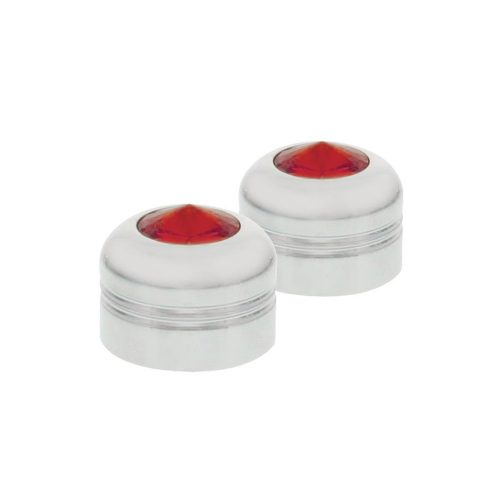 "(2/CARD) CHROME ALUMINUM 9/16"" NUT COVER W/ DIAMOND - RED"
