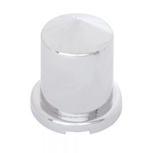 """(BULK) CHROME PLASTIC 3/4"""" x 1 1/2"""" POINTED ROUND NUT COVER FOR HEX HEAD BOLTS"""