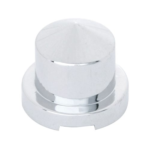 """(BULK) CHROME PLASTIC 7/16"""" x 3/4"""" POINTED ROUND NUT COVER FOR HEX HEAD BOLTS"""