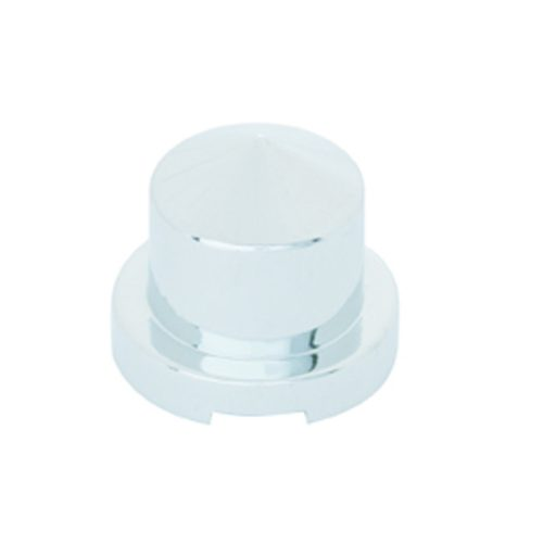 """(BULK) CHROME PLASTIC 9/16"""" x 1 1/4"""" POINTED ROUND PUSH-ON NUT COVER FOR HEX HEAD BOLTS"""