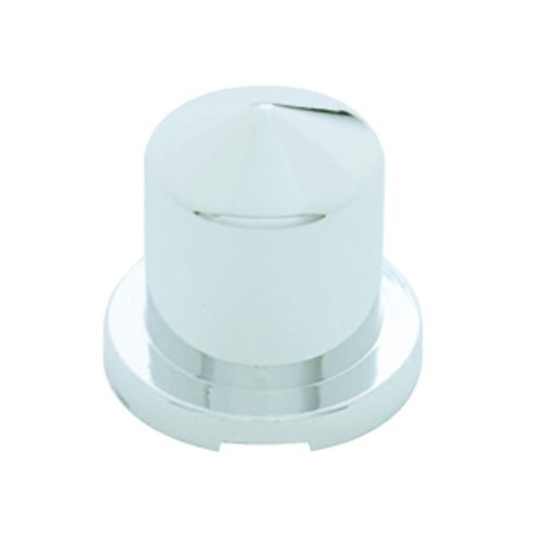 """(BULK) CHROME PLASTIC 5/8"""" x 1 1/4"""" POINTED ROUND PUSH-ON NUT COVER FOR HEX HEAD BOLTS"""