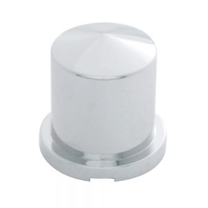 """(BULK) CHROME PLASTIC 1 1/8"""" x 1 7/8"""" POINTED ROUND PUSH-ON NUT COVER FOR HEX HEAD BOLTS"""