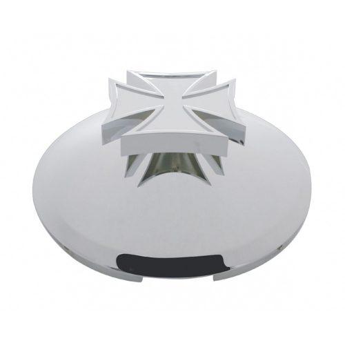 "(BULK) CHROME 1"" LIP 4 EVEN NOTCH FRONT HUB CAP W/ IRON CROSS SPINNER"