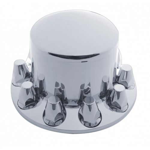 "(CARD) CHROME PLASTIC ECONOMY DOME REAR AXLE COVER W/ REMOVABLE CAP - 1 1/2"" PUSH-ON NUT COVER"