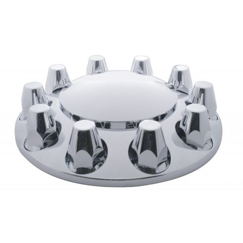 (BOX) CHROME PLASTIC ECONOMY FRONT AXLE COVER W/ REMOVABLE CAP - 33mm THREAD-ON NUT COVER
