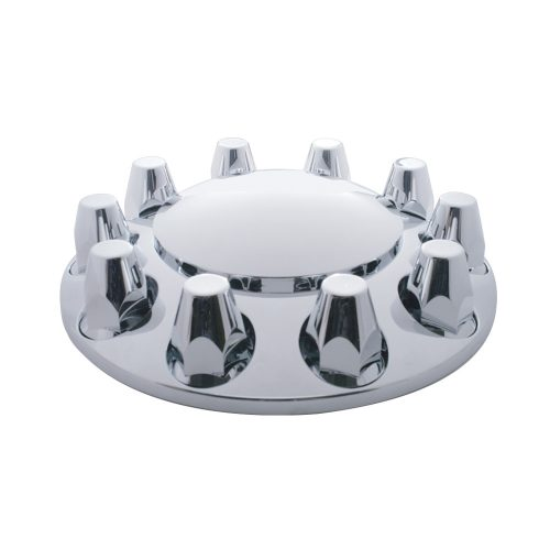 (CARD) CHROME PLASTIC FRONT AXLE COVER W/ REMOVABLE HUB CAP - 33mm THREAD-ON NUT COVER