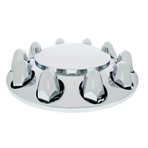 """(CARD) CHROME PLASTIC FRONT AXLE COVER W/ REMOVABLE HUB CAP - 1 1/2"""" PUSH-ON NUT COVER"""