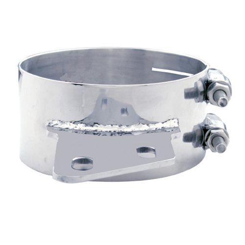 """(BULK) STAINLESS STEEL 6"""" BUTT JOINT EXHAUST CLAMP W/ ANGLED BRACKET"""