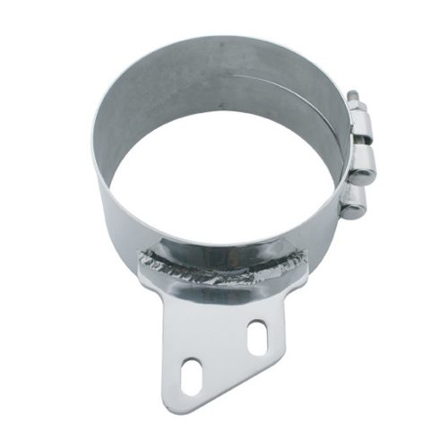 """(BULK) STAINLESS STEEL 7"""" BUTT JOINT EXHAUST CLAMP W/ ANGLED BRACKET"""