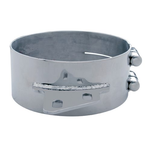 """(BULK) STAINLESS STEEL 8"""" BUTT JOINT EXHAUST CLAMP W/ ANGLED BRACKET"""