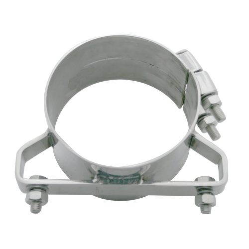 """(BULK) DELUXE STAINLESS STEEL WIDE BAND 5"""" EXHAUST CLAMP"""