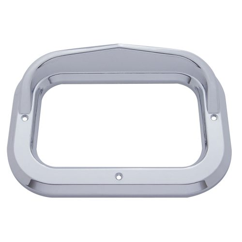 (CARD) CHROME PLASTIC RECTANGULAR BEZEL W/ VISOR