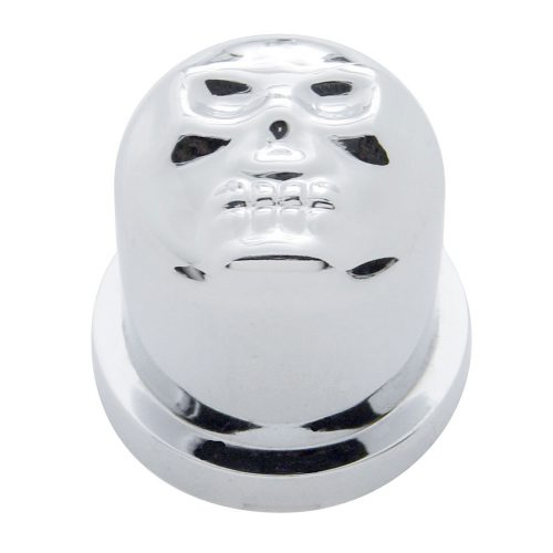 "(BULK) CHROME PLASTIC 11/16"" x 1 1/4"" SKULL NUT COVER"