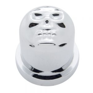 "(BULK) CHROME PLASTIC 1 1/8"" x 1 7/8"" SKULL NUT COVER"