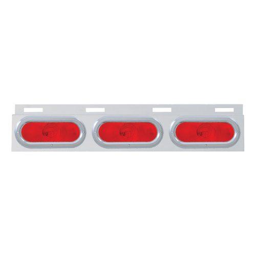 (BULK) STAINLESS STEEL TOP MUD FLAP LIGHT BRACKET W/ 3 OVAL INCANDESCENT LIGHT W/BEZEL - RED LENS
