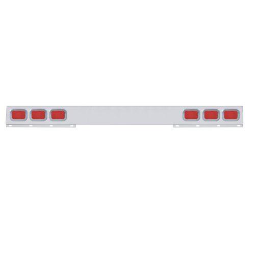 (BULK) STAINLESS STEEL 1 PIECE REAR LIGHT BAR W/ 6 RECTANGULAR INCANDESCENT LIGHT W/ GROMMET - RED LENS