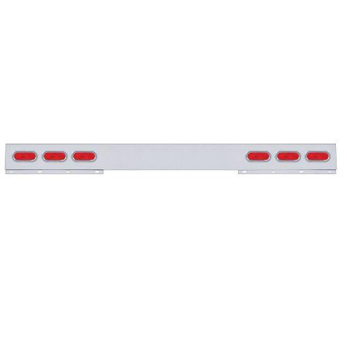 (BULK) STAINLESS STEEL 1 PIECE REAR LIGHT BAR W/ 6 STRAIGHT OVAL INCANDESCENT LIGHT W/ GROMMET - RED LENS