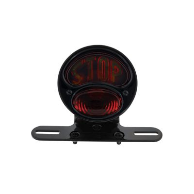 """(BOX) """"DUOLAMP"""" MOTORCYCLE REAR FENDER TAIL LIGHT - GLASS LENS W/ """"""""STOP"""" LETTERING"""