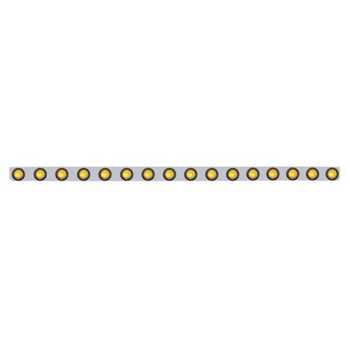"""(BULK) STAINLESS STEEL LIGHT BRACKET W/ 16 AMBER 2"""" FLAT LIGHTS"""