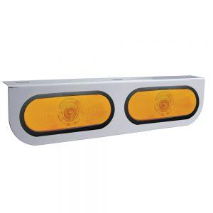 (BULK) STAINLESS STEEL LIGHT BRACKET W/ 2 OVAL INCANDESCENT LIGHTS W/ GROMMET - AMBER REGULAR LENS