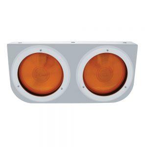 """(BULK) STAINLESS STEEL LIGHT BRACKET W/ TWO 4"""" INCANDESCENT LIGHT - RED REGULAR LENS"""