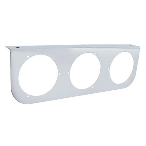 "(BULK) STAINLESS STEEL LIGHT BRACKET W/ THREE 4"" LIGHT CUTOUTS"