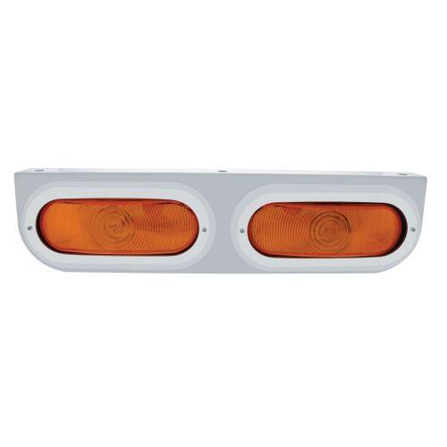 (BULK) STAINLESS STEEL LIGHT BRACKET W/ 2 OVAL INCANDESCENT LIGHTS W/ BEZEL - AMBER REGULAR LENS