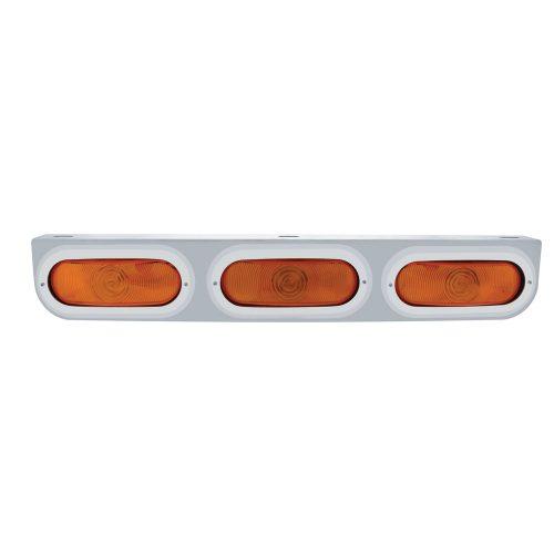 (BULK) STAINLESS STEEL LIGHT BRACKET W/ 3 OVAL INCANDESCENT LIGHTS W/ BEZEL - AMBER REGULAR LENS