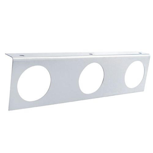 "(BULK) STAINLESS STEEL LIGHT BRACKET W/ THREE 2 1/2"" LIGHT CUTOUTS"