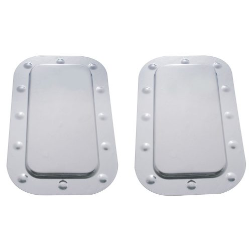 (SET/CARD) STAINLESS STEEL KENWORTH VENT DOOR COVER AND DIMPLED TRIM SET- PLAIN