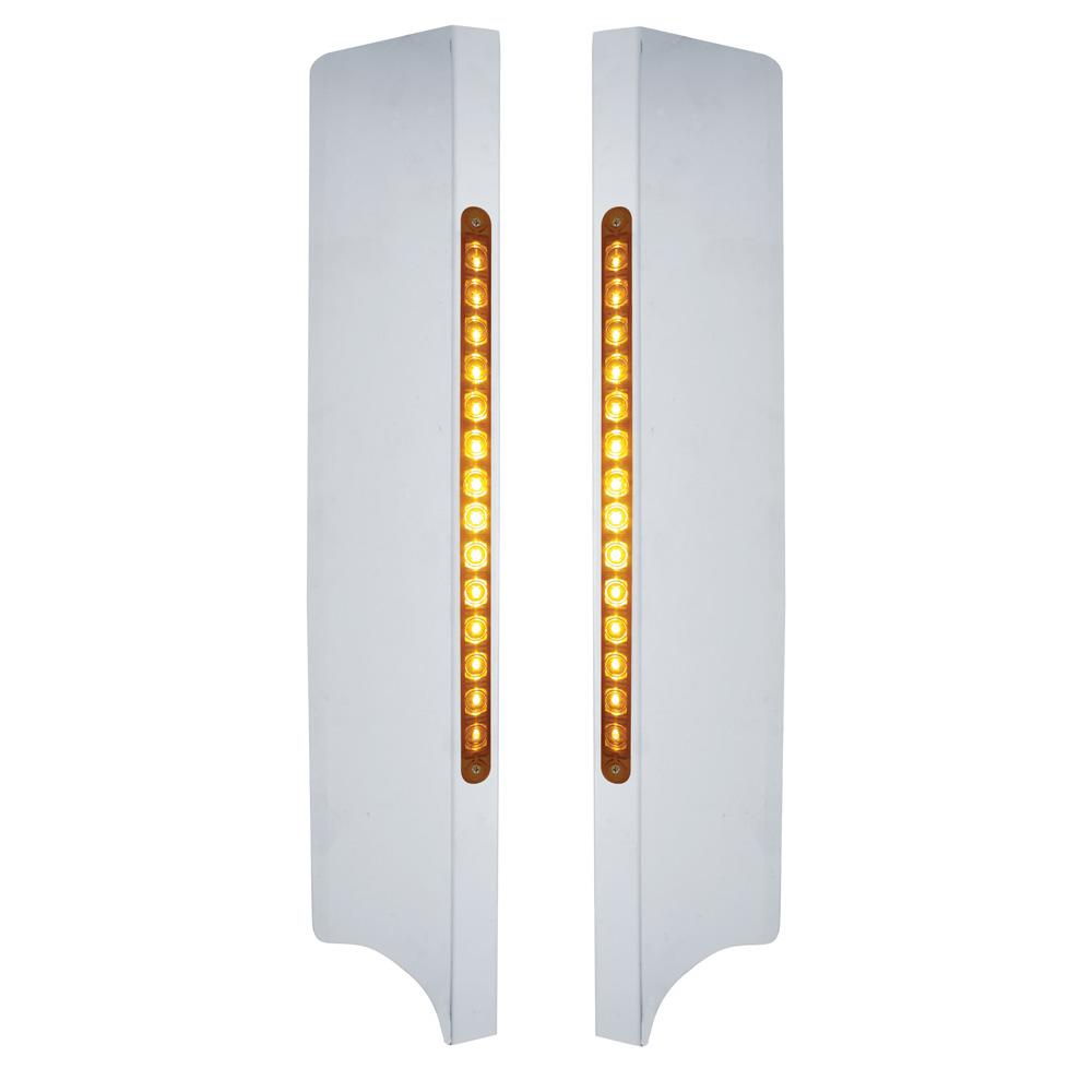 "(2/BOX) S.S. PETERBILT 379 SIDE GRILL DEFLECTOR W/ TWO 14 LED 12"" LIGHT BARS - AMBER LED/AMBER LENS"