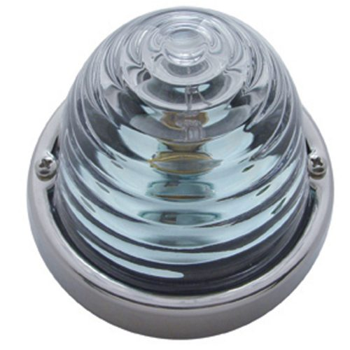 (BULK) INCANDESCENT LARGE GLASS MARKER LIGHT W/ 1157 BULB - CLEAR BEEHIVE LENS
