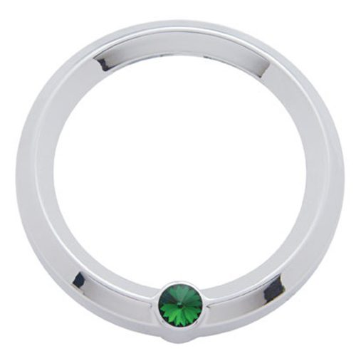 (CARD) CHROME PLASTIC KENWORTH PYRO GAUGE COVER W/ DIAMOND - GREEN