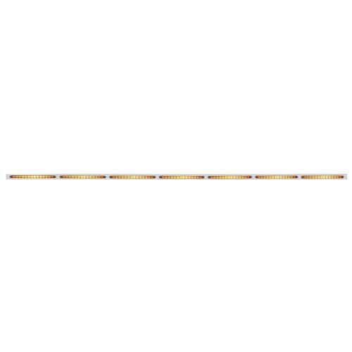 """(BULK) 94"""" STAINLESS STEEL 7 LED CUTOUT BUMPER LIGHT BRACKET W/ 14 AMBER LED 12"""" LIGHT BAR - AMBER LENS"""