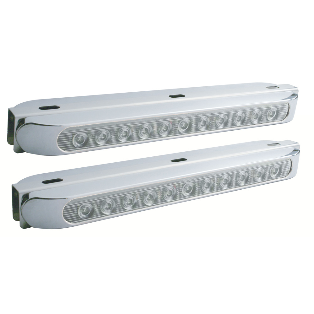 """(BULK) S.S. DOUBLE FACE LT BRACKET WITH TWO 11 LED 17 5/16"""" LT BAR W/ BEZEL - AMBER/CLEAR & RED/CLEAR"""