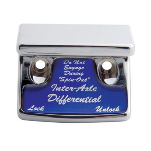 (CARD) CHROME PLASTIC FREIGHTLINER SWITCH GUARD W/ GLOSSY AXLE-DIFFERENTIAL STICKER - BLUE