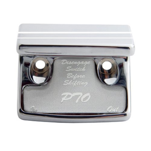 (CARD) CHROME PLASTIC FREIGHTLINER SWITCH GUARD W/ GLOSSY PTO STICKER - SILVER