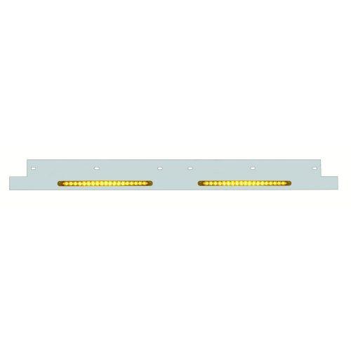 """(BULK) STAINLESS STEEL KENWORTH LOWER TRIM W/ 19 AMBER LED 12"""" REFLECTOR LIGHT BAR - AMBER LENS"""