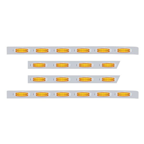 (BULK) S.S. PB 63ö SLEEPER LIGHT PANEL W/ TWENTY 12 AMBER LED RECTANGULAR MARKER LIGHT - AMBER LENS