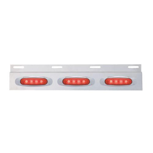 (BULK) STAINLESS STEEL TOP MUD FLAP LIGHT BRACKET W/ THREE 4 LED REFLECTOR LIGHT W/ BEZEL - RED LENS