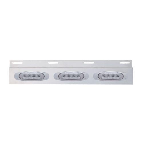 (BULK) STAINLESS STEEL TOP MUD FLAP LIGHT BRACKET W/ THREE 4 LED REFLECTOR LIGHT W/ BEZEL - CLEAR LENS