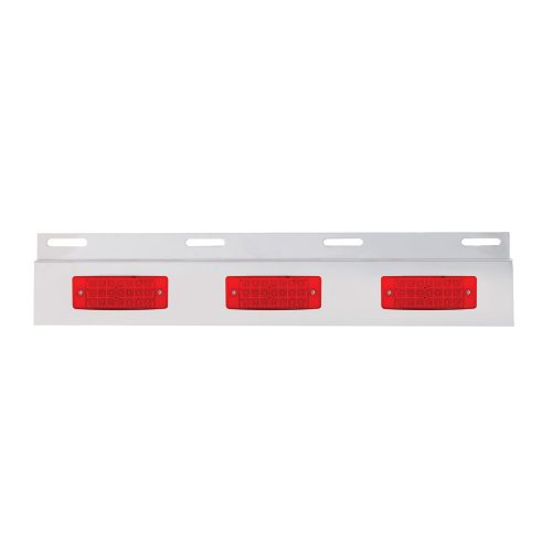 (BULK) STAINLESS STEEL TOP MUD FLAP LIGHT BRACKET W/ THREE 21 LED TURTLE BACK LIGHT - RED LENS