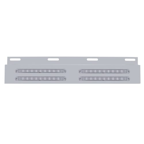 """(BULK) STAINLESS STEEL TOP PLATE WITH FOUR 10 AMBER LED 9"""" P/T/C STRIP LIGHT - CLEAR LENS"""