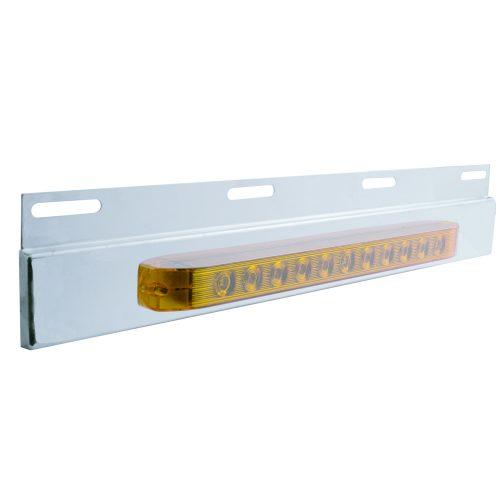 """(BULK) STAINLESS STEEL TOP PLATE W/ 11 AMBER LED 17"""" LIGHT BAR - AMBER LENS"""