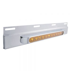 "(BULK) STAINLESS STEEL TOP PLATE W/ 11 AMBER LED 17"" LIGHT BAR W/ BEZEL - AMBER LENS"
