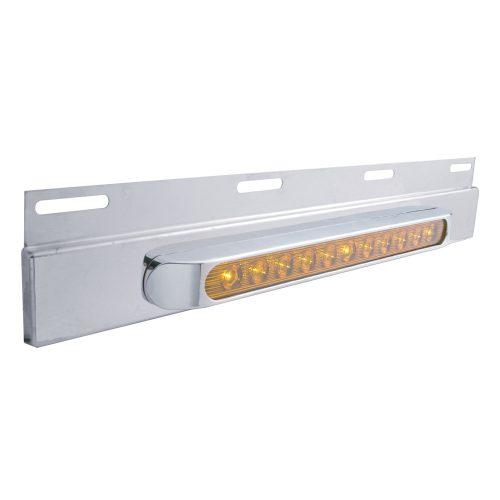 """(BULK) STAINLESS STEEL TOP PLATE W/ 11 AMBER LED 17"""" LIGHT BAR W/ BEZEL - AMBER LENS"""