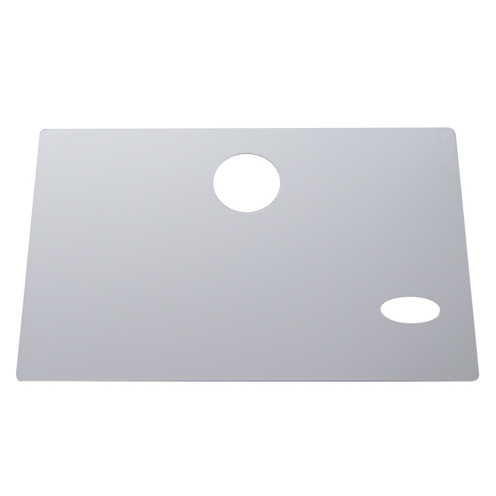 (CARD) STAINLESS STEEL EARLY PETERBILT GLOVE BOX COVER W/OVAL LOGO CUTOUT