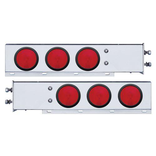 "(2/BULK) 430 STAINLESS STEEL SPRING LOADED REAR LT BAR W/ SIX 4"" ROUND RED INCANDESCENT LT - 2 1/2"" BOLT PATTERN"