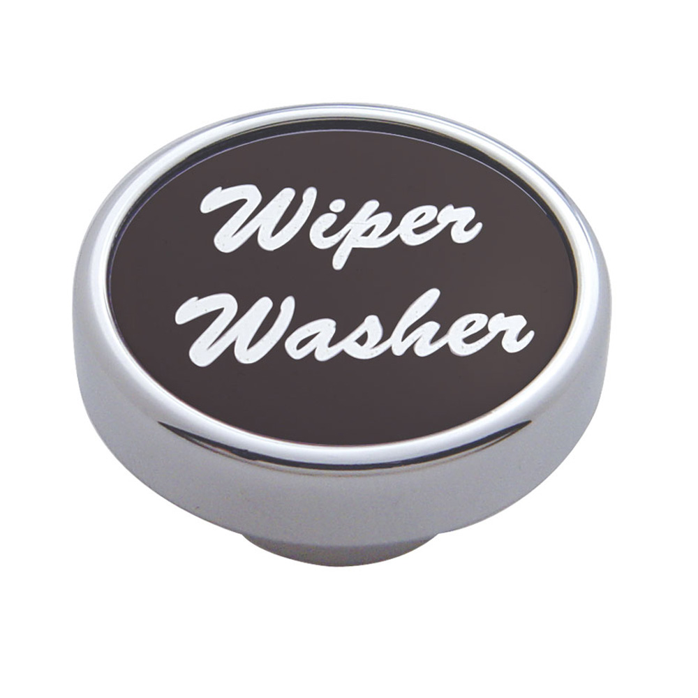 "(CARD) CHROME DASH KNOB W/ ALUMINUM ""WIPER/WASHER"" STICKER - BLACK"