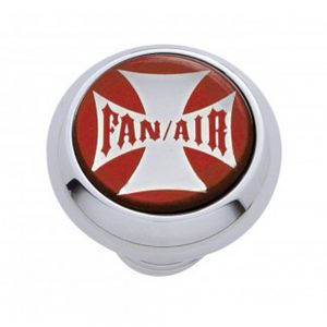 "(CARD) CHROME DELUXE W/ GLOSSY ""FAN/AIR"" MALTESE CROSS STICKER - RED"